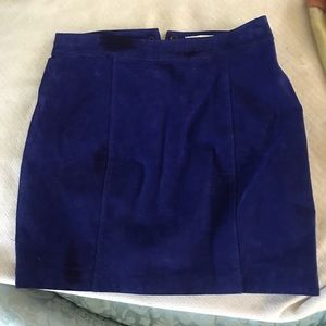 Suede blue skirt, small, about a 2, tag reads 25